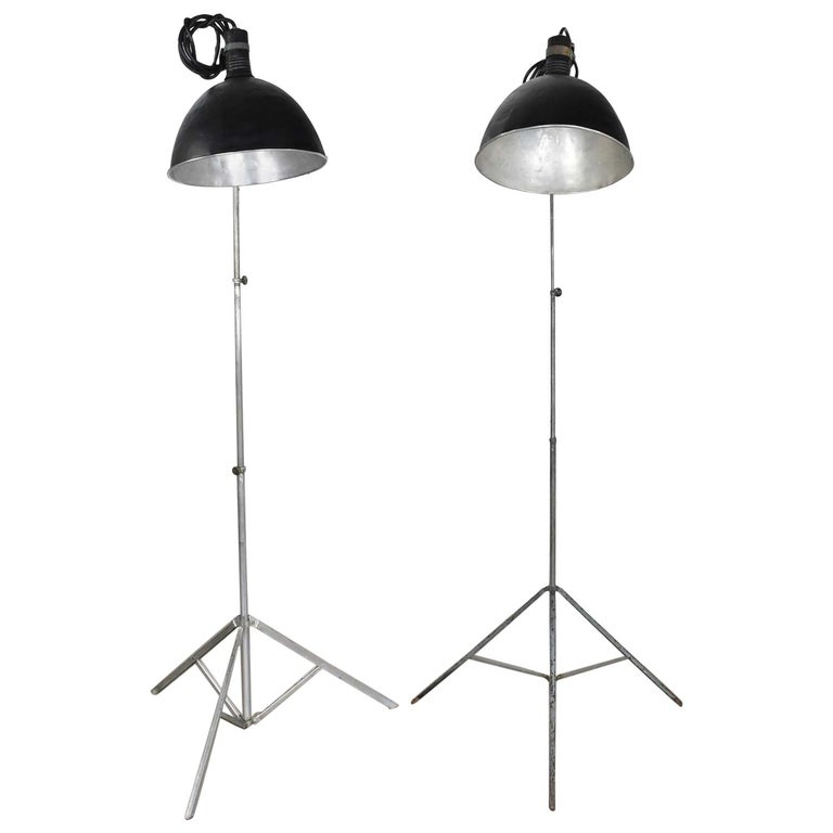 Vintage Industrial Pair of Photographers Floor Lights Tripod Base For Sale
