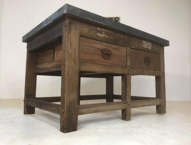 Vintage Industrial Pine Printers Table Zinc Top Kitchen Island Worktable For Sale 5