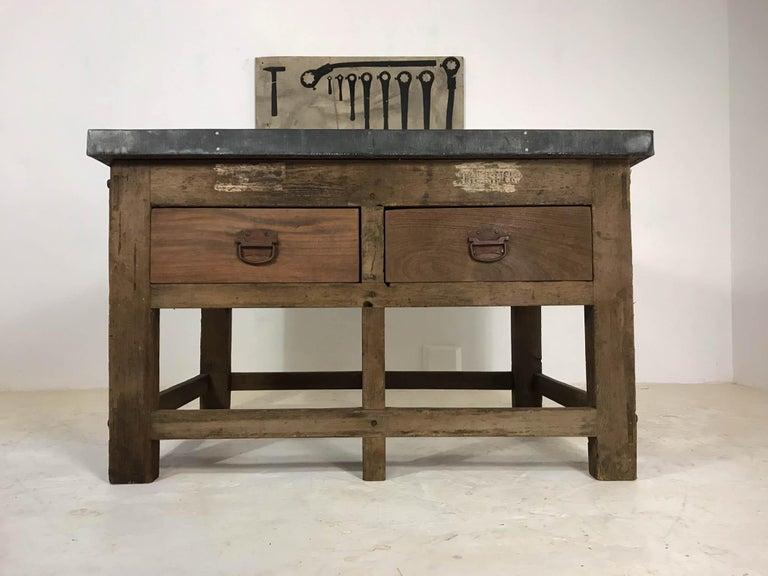 Vintage Industrial Pine Printers Table Zinc Top Kitchen Island Worktable For Sale 6