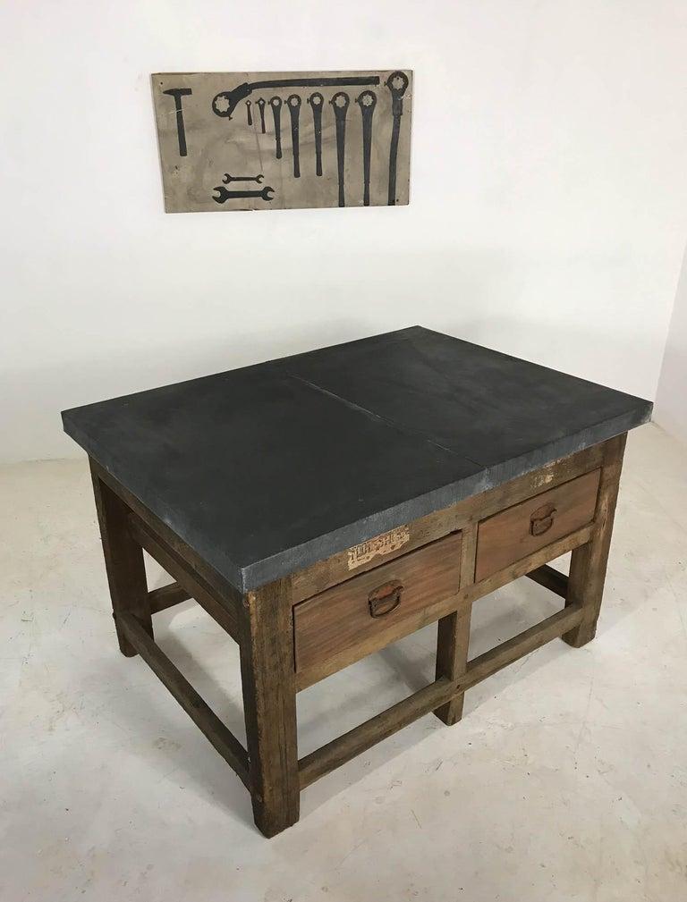 Vintage Industrial Pine Printers Table Zinc Top Kitchen Island Worktable For Sale 7