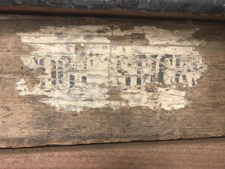 Vintage Industrial Pine Printers Table Zinc Top Kitchen Island Worktable For Sale 8