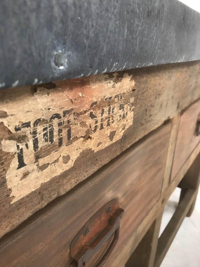 Vintage Industrial Pine Printers Table Zinc Top Kitchen Island Worktable For Sale 9