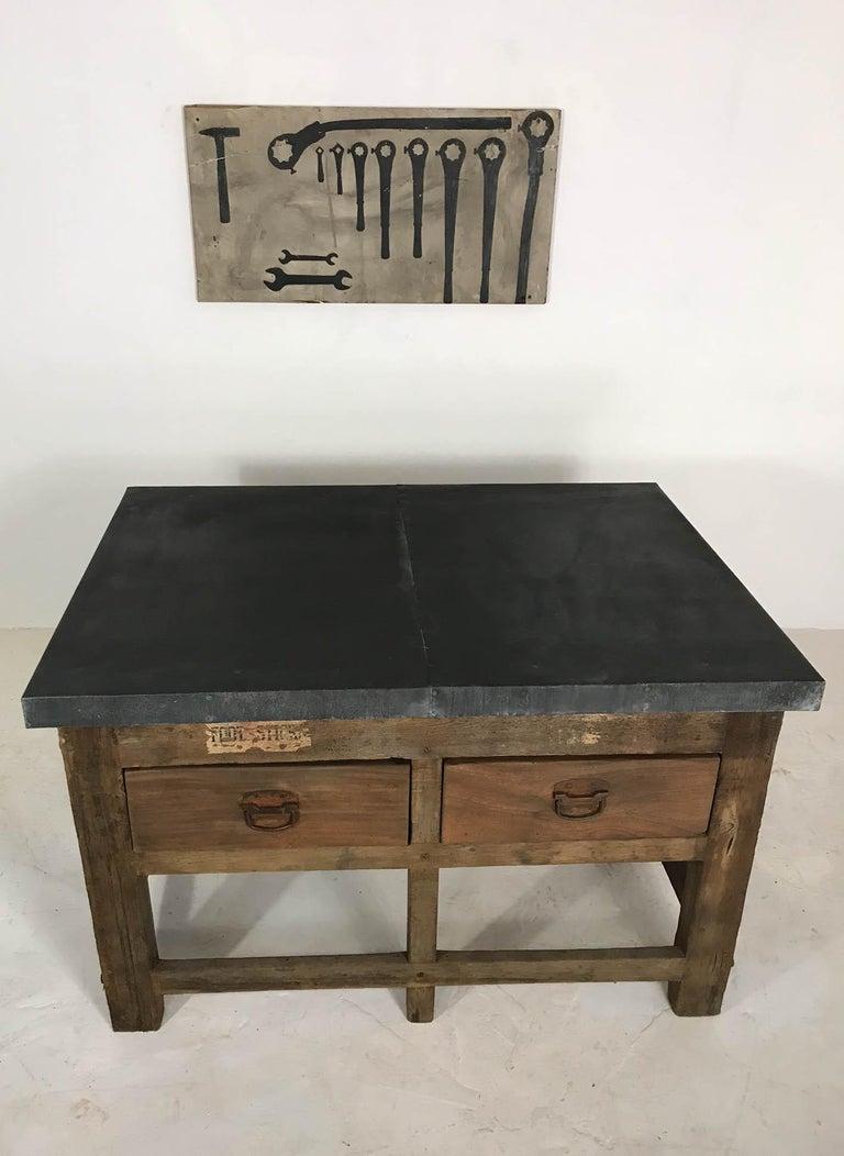 Vintage Industrial Pine Printers Table Zinc Top Kitchen Island Worktable For Sale 11