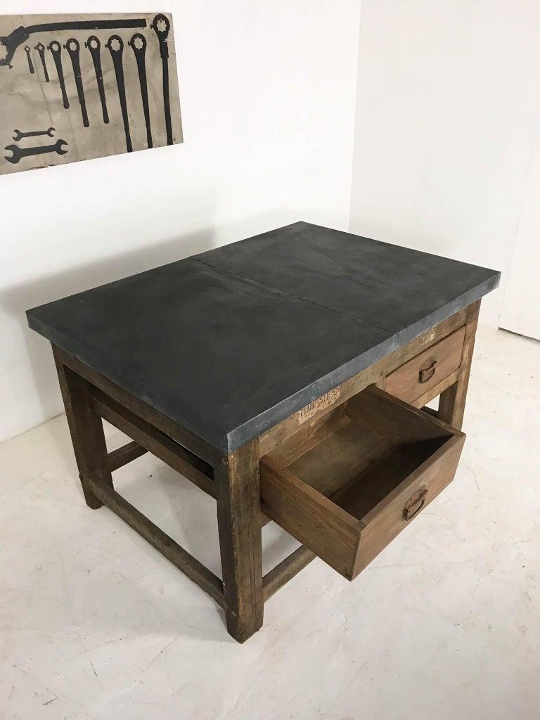 Vintage Industrial Pine Printers Table Zinc Top Kitchen Island Worktable For Sale 12
