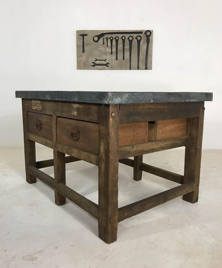 Vintage Industrial Pine Printers Table Zinc Top Kitchen Island Worktable For Sale 13