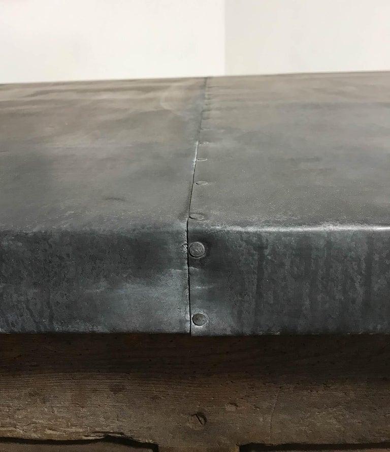 Vintage Industrial Pine Printers Table Zinc Top Kitchen Island Worktable For Sale 14