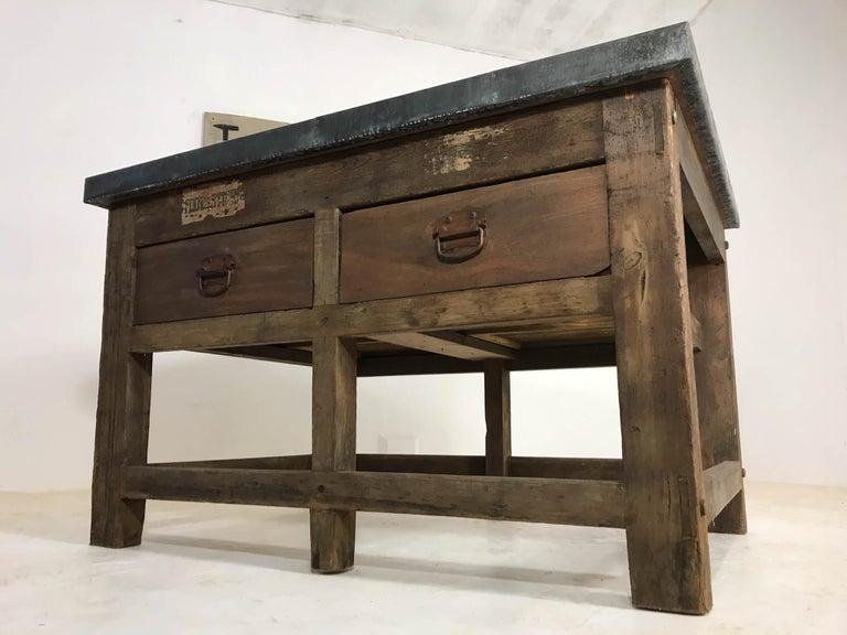 Vintage Industrial Pine Printers Table Zinc Top Kitchen Island Worktable For Sale 15