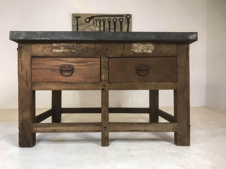 Vintage Industrial Pine Printers Table Zinc Top Kitchen Island Worktable In Good Condition For Sale In Culverthorpe, Lincs