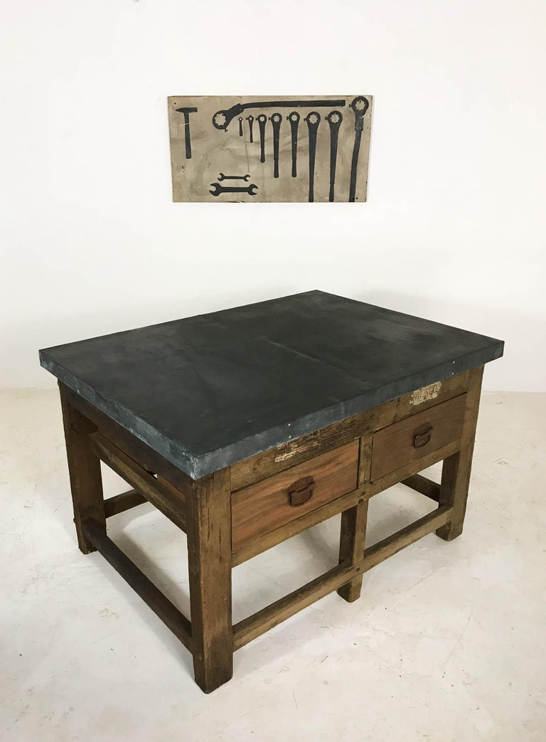 20th Century Vintage Industrial Pine Printers Table Zinc Top Kitchen Island Worktable For Sale
