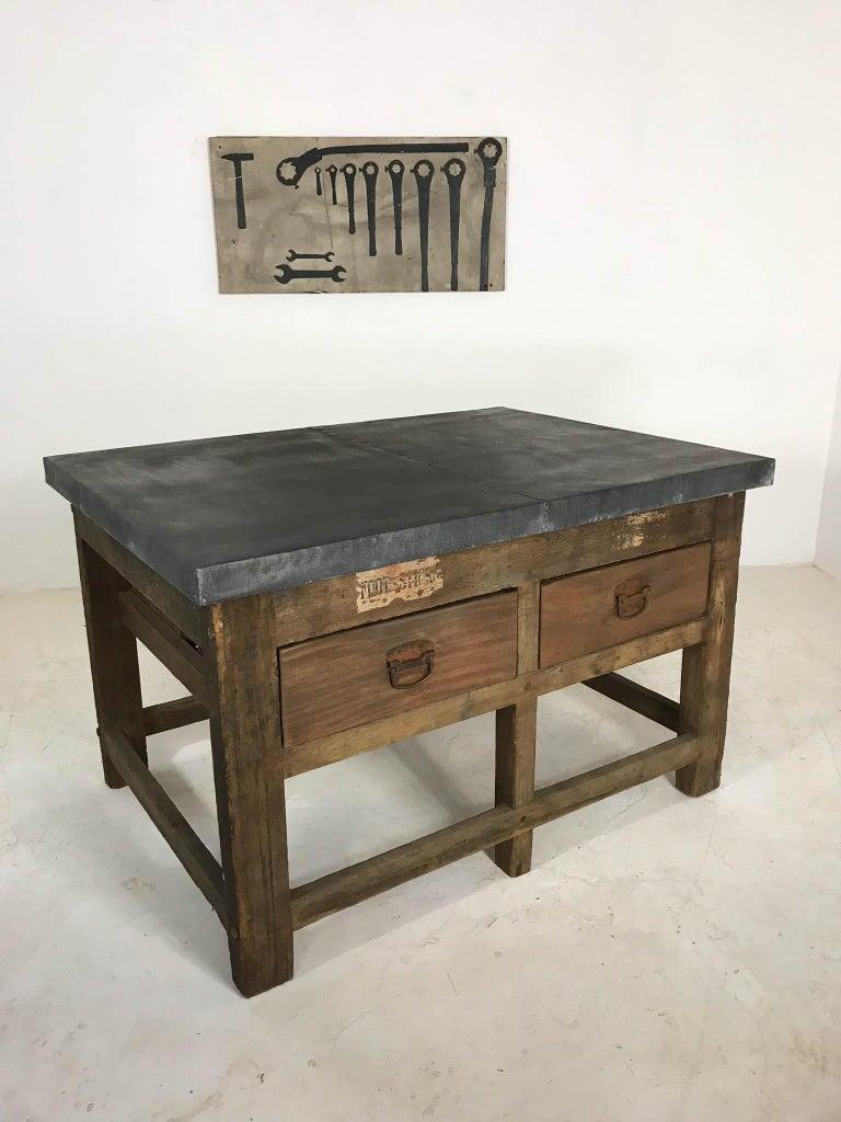 Vintage Industrial Pine Printers Table Zinc Top Kitchen Island Worktable For Sale 1