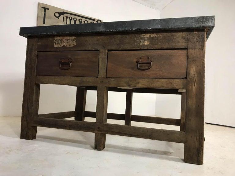 Vintage Industrial Pine Printers Table Zinc Top Kitchen Island Worktable For Sale 2