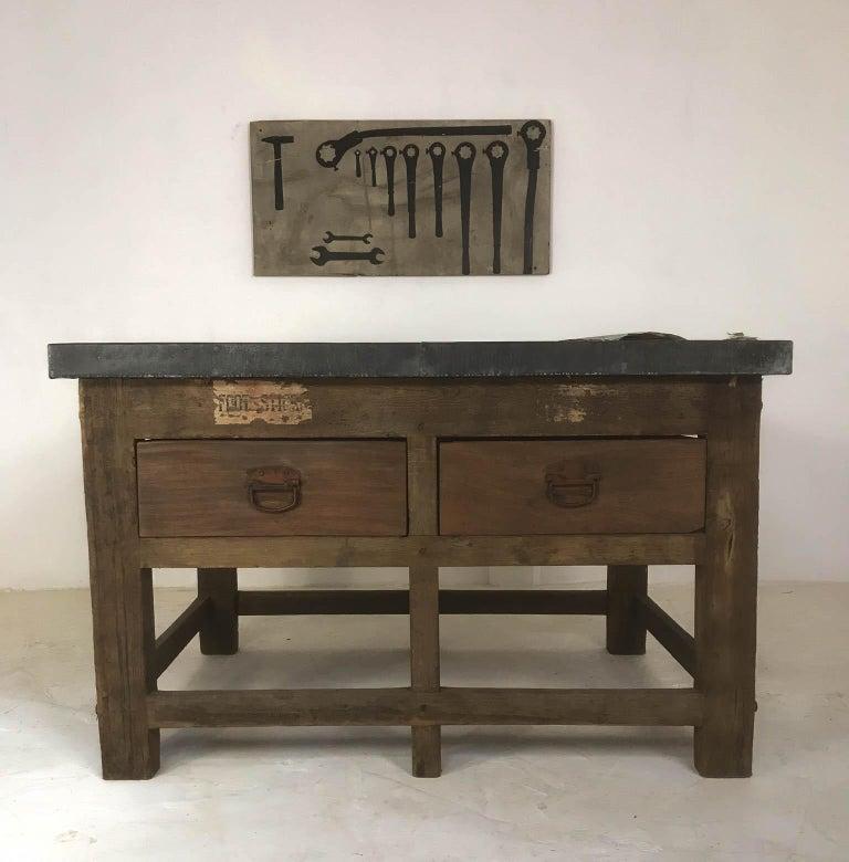 Vintage Industrial Pine Printers Table Zinc Top Kitchen Island Worktable For Sale 3