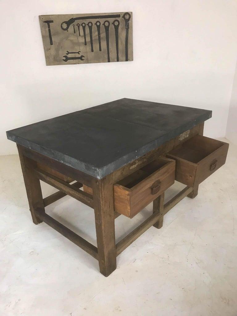 Vintage Industrial Pine Printers Table Zinc Top Kitchen Island Worktable For Sale 4