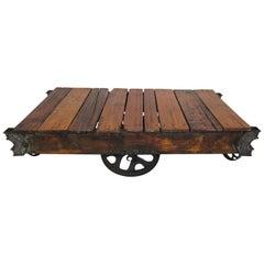 Vintage Industrial Railroad Cart Coffee Table