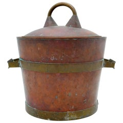 Vintage Industrial Rustic Copper and Brass Ice Bucket