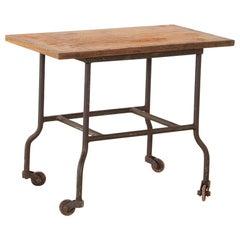 Vintage Industrial Side Table on Wheels