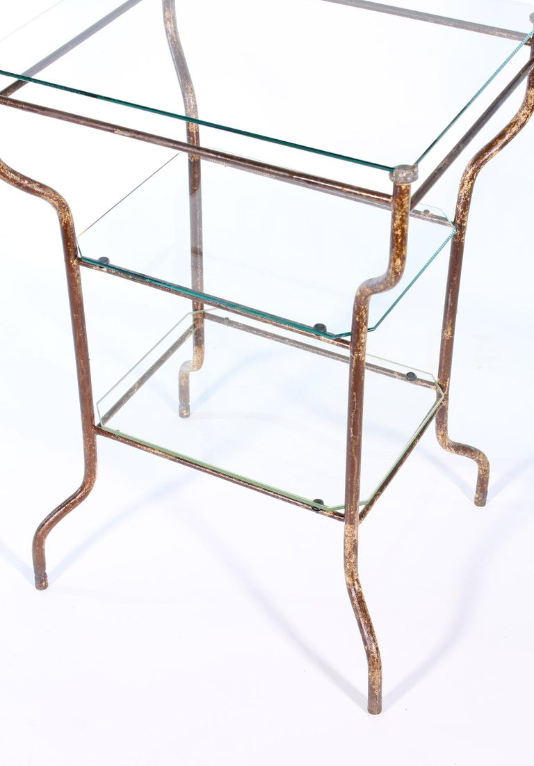 Vintage Industrial Side Table - Three-Tier Distressed Metal and Glass For Sale 9