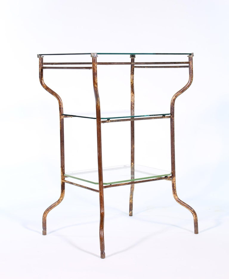 Vintage Industrial Side Table - Three-Tier Distressed Metal and Glass For Sale 11