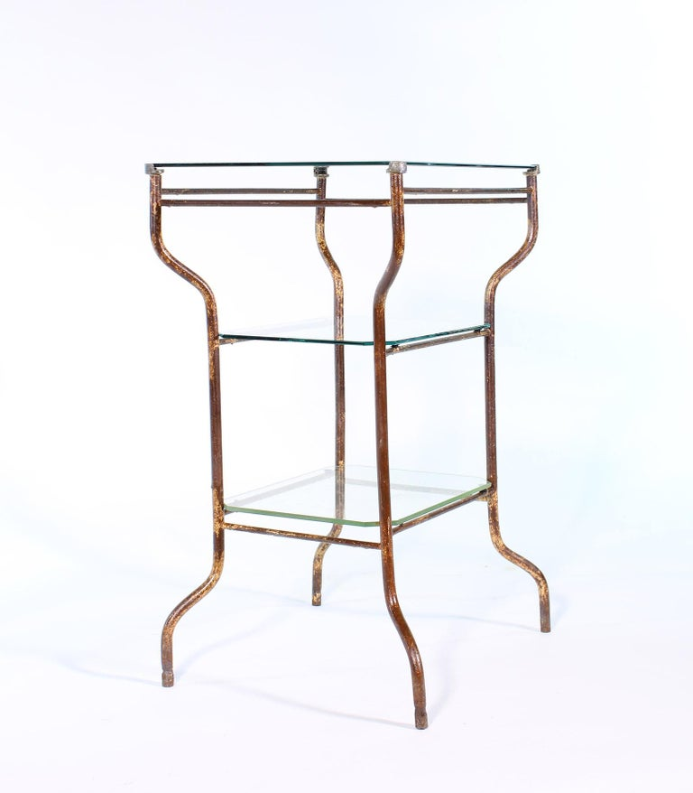 Vintage Industrial Side Table - Three-Tier Distressed Metal and Glass For Sale 12