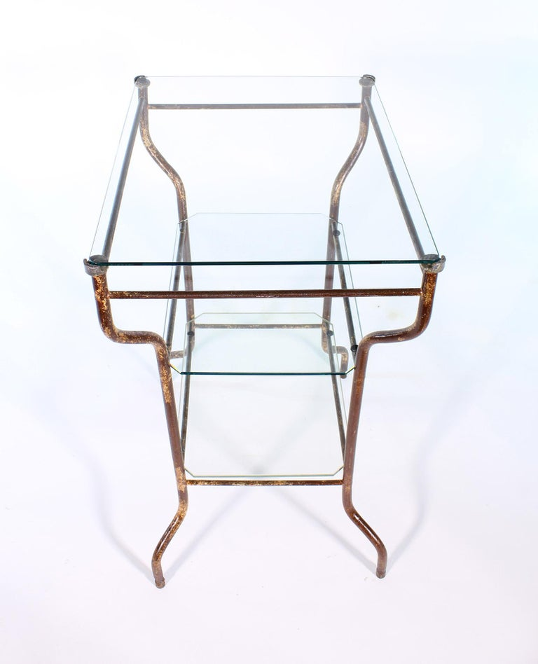 Vintage Industrial Side Table - Three-Tier Distressed Metal and Glass For Sale 14