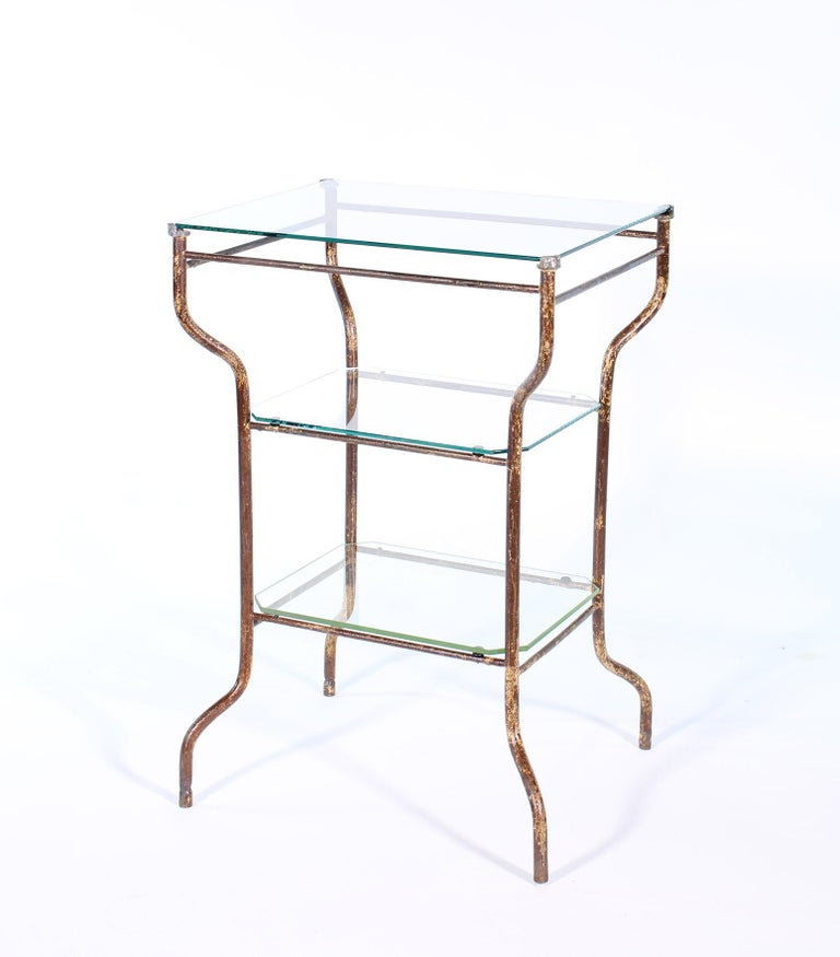 20th Century Vintage Industrial Side Table - Three-Tier Distressed Metal and Glass For Sale