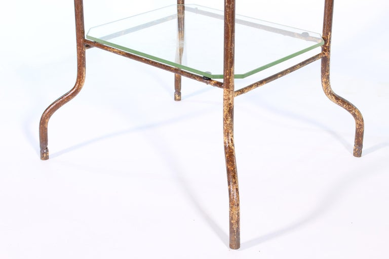Vintage Industrial Side Table - Three-Tier Distressed Metal and Glass For Sale 3