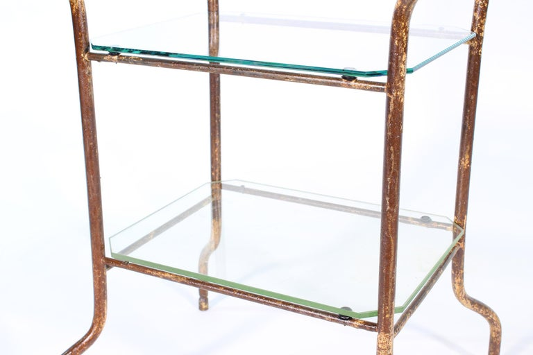Vintage Industrial Side Table - Three-Tier Distressed Metal and Glass For Sale 4