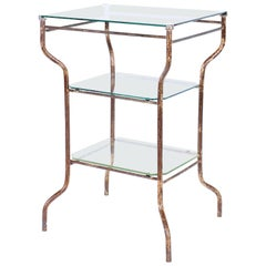 Vintage Industrial Side Table - Three-Tier Distressed Metal and Glass