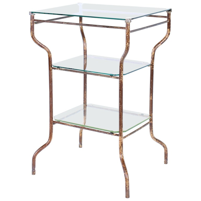 Vintage Industrial Side Table - Three-Tier Distressed Metal and Glass For Sale