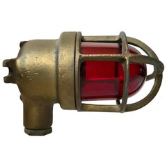 Vintage Industrial SOS Alarm Wall Sconce in Brass and Red Glass, 1940s