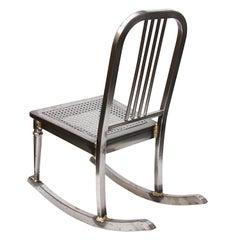 Vintage Industrial Steel & Brass Petite Ladies Rocking Chair Nursery Rocker