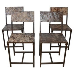TWO Vintage Industrial Steel Metal Dining Chairs