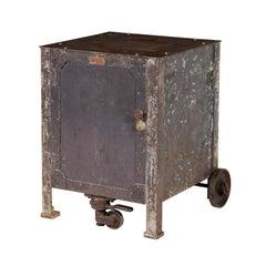 Vintage Industrial Steel Textile Machine Works Riveted Rolling Cabinet 2 of 2