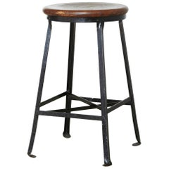 Vintage Industrial Stool with Steel Frame and Oak Seat, circa 1940s