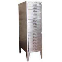 Vintage Industrial Stripped Metal 15-Drawer Filing Cabinet