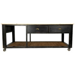 Vintage Industrial Style Black Pine Workbench Kitchen Island Centrepiece