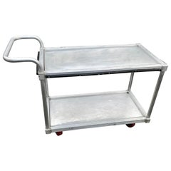 Vintage Industrial Style Two-Tier Stainless Steel Bar Cart Rolling Version