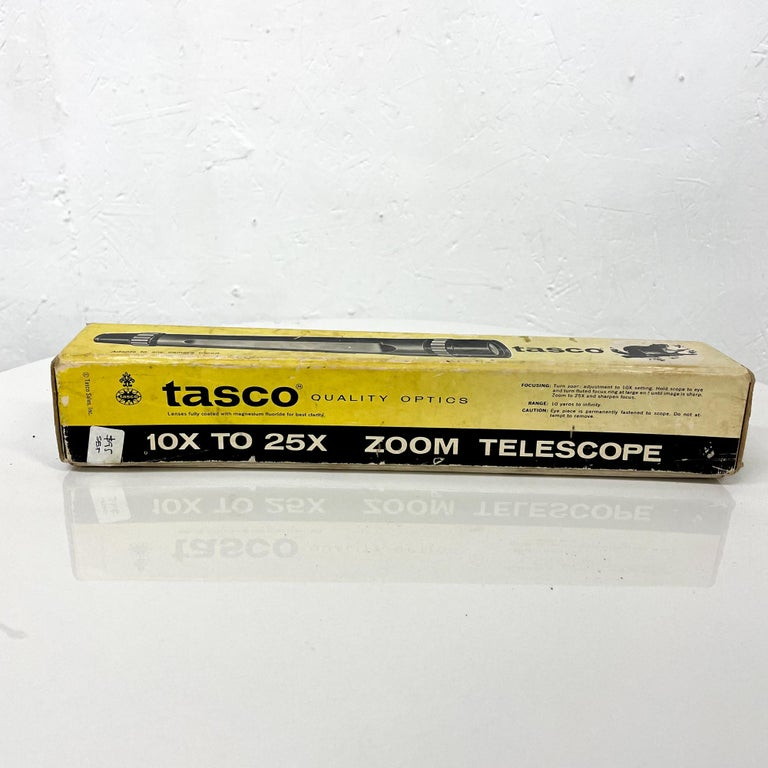 Mid-Century Modern Vintage Industrial TASCO Telescope with Original Package Box For Sale