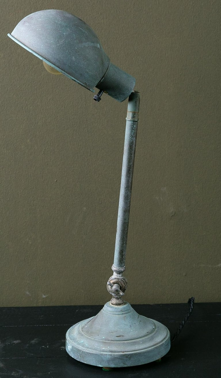 French  Vintage Industrial Task or Desk Lamp with Interesting Patina For Sale