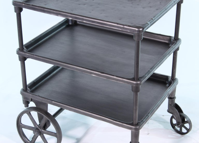 Vintage Industrial Three-Tier Table Rolling Bar Cart For Sale 3