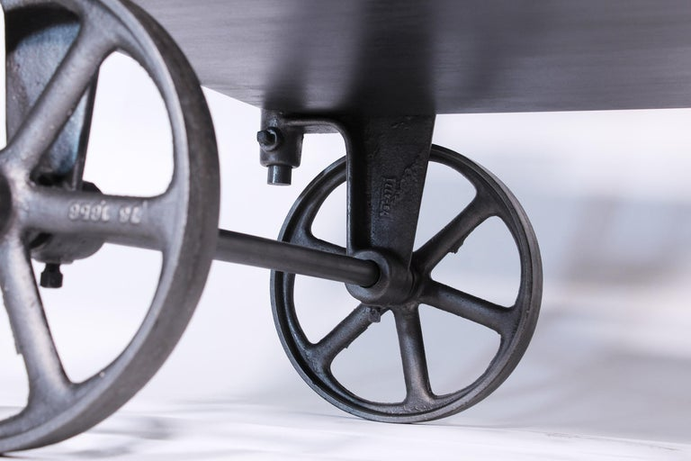 Vintage Industrial Three-Tier Table Rolling Bar Cart For Sale 5