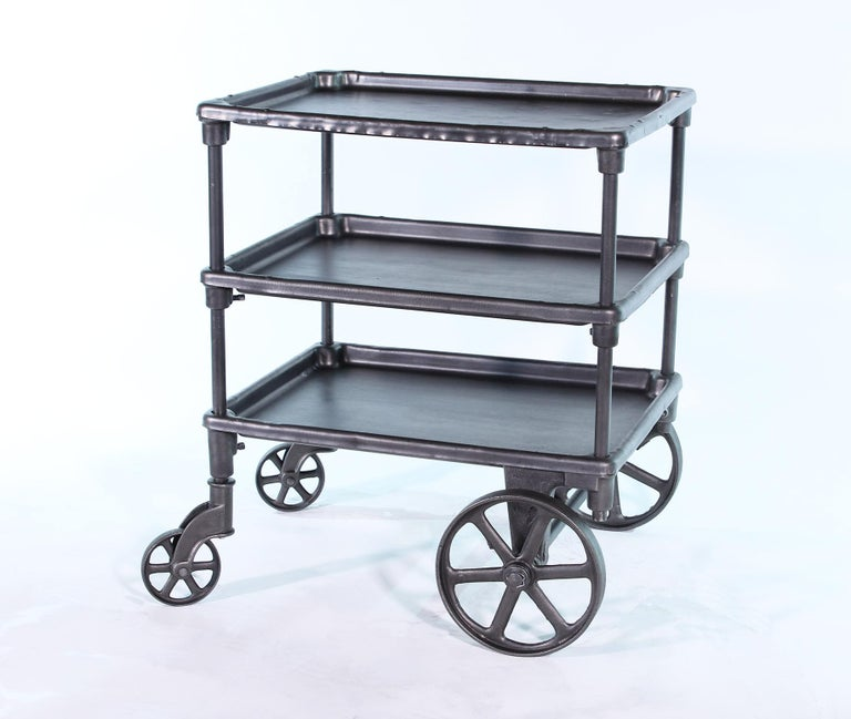 American Vintage Industrial Three-Tier Table Rolling Bar Cart For Sale