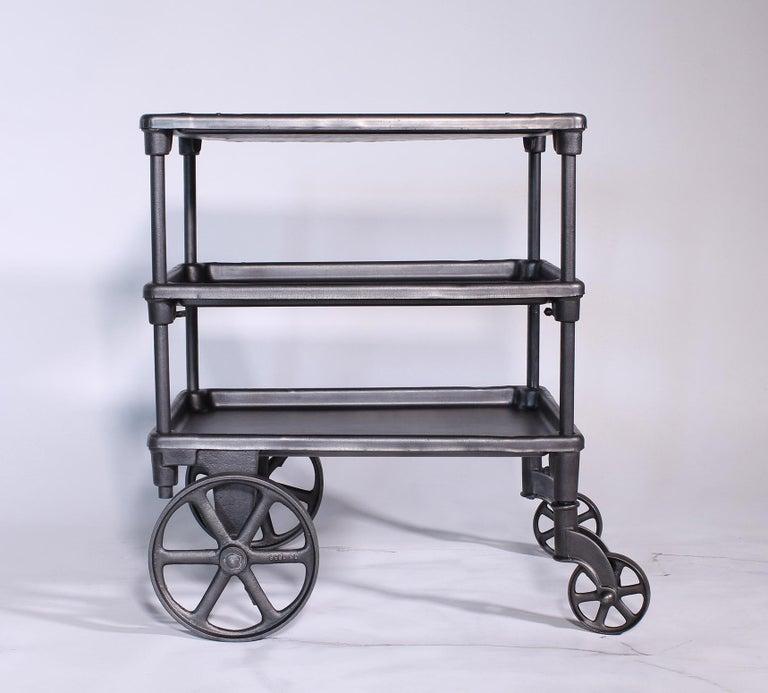20th Century Vintage Industrial Three-Tier Table Rolling Bar Cart For Sale