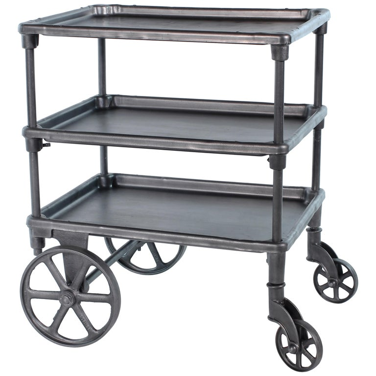Vintage Industrial Three-Tier Table Rolling Bar Cart For Sale