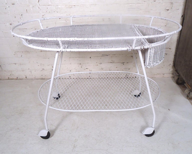 Mid-Century Modern Vintage Industrial Wicker Tea Cart For Sale