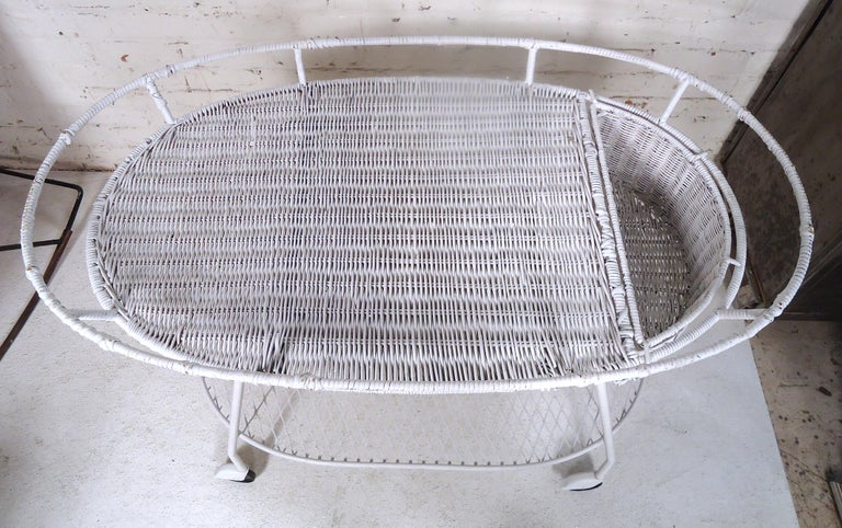 Mid-20th Century Vintage Industrial Wicker Tea Cart For Sale