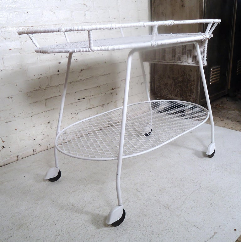 Vintage Industrial Wicker Tea Cart For Sale 1