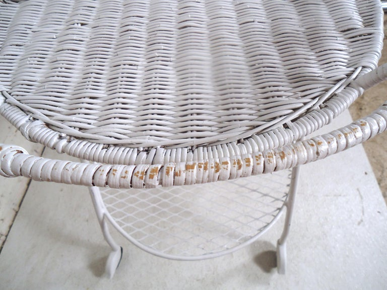 Vintage Industrial Wicker Tea Cart For Sale 3