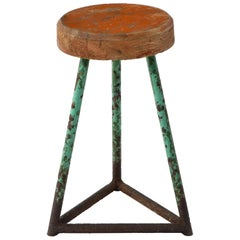 Vintage Industrial Wood and Metal Stool, Heavy Patina, Belgium 1960s