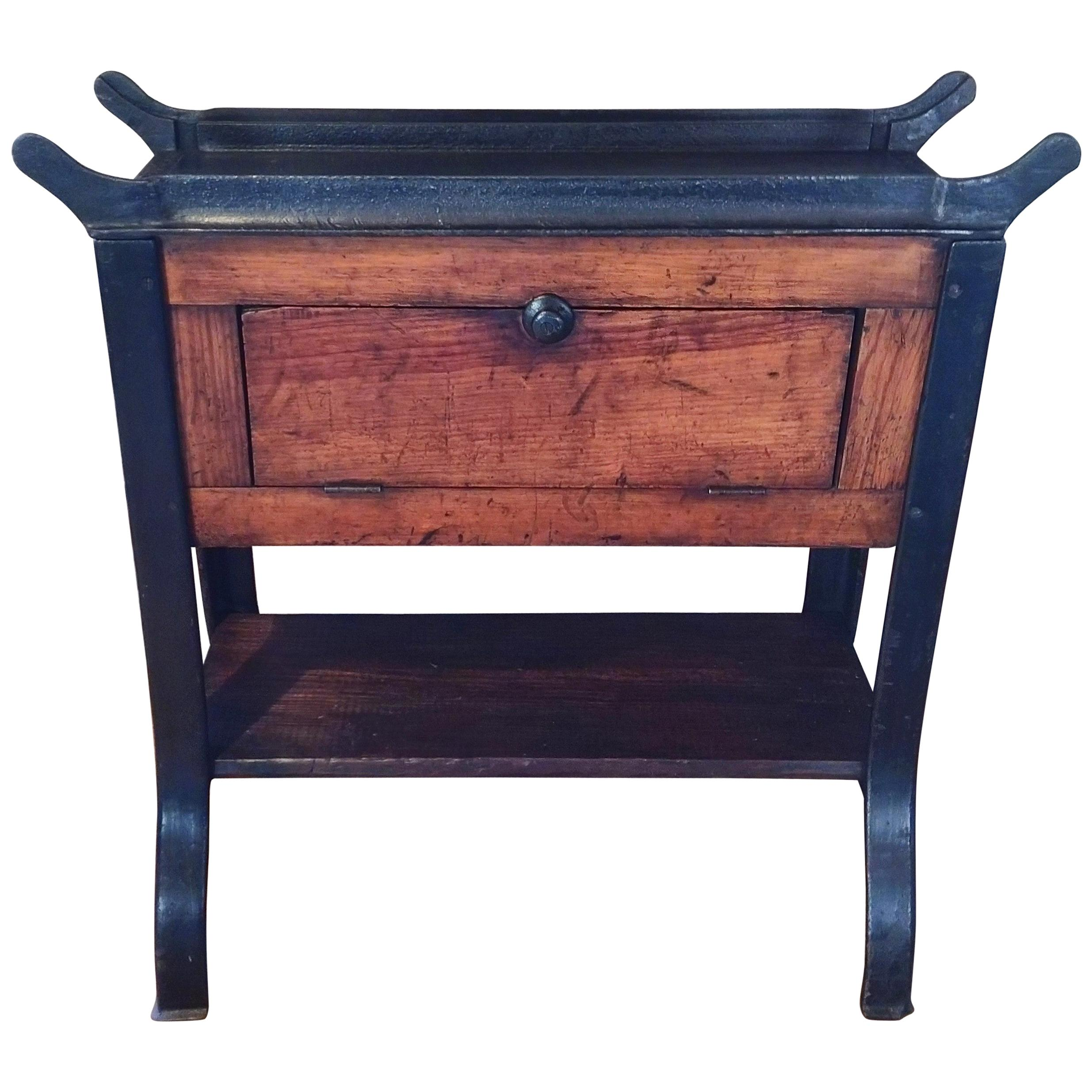 Vintage Industrial Wood and Cast Iron Printer's Proof Table